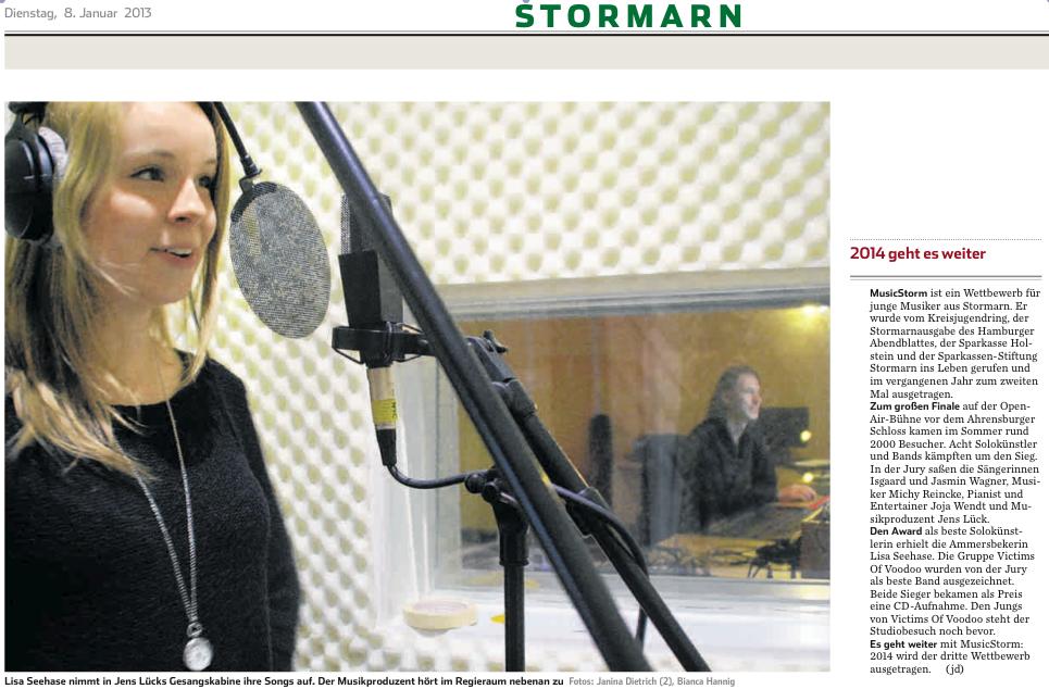 Abendblatt-Artikel zu den Aufnahmen mit Lisa Seehase